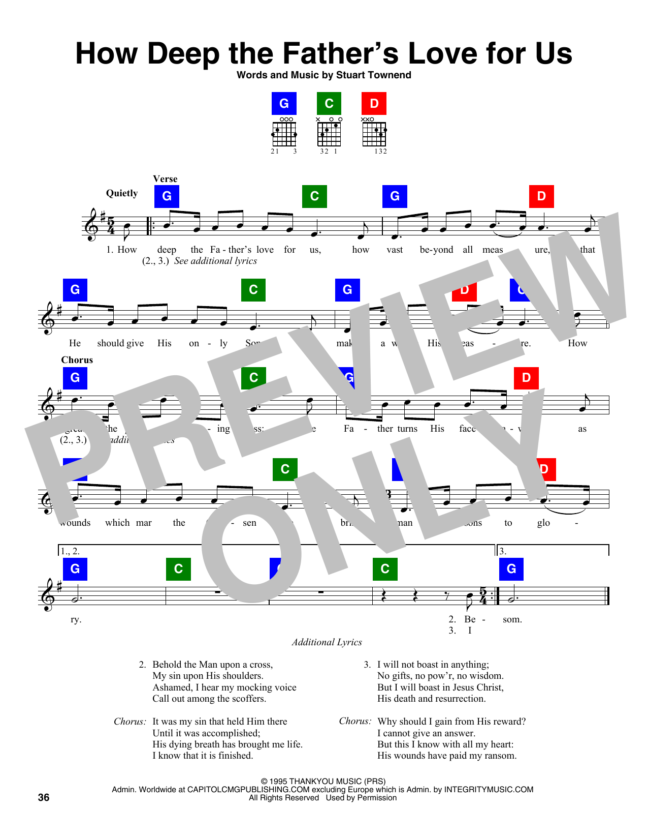 Download Stuart Townend 'How Deep The Father's Love For Us' Digital Sheet Music Notes & Chords and start playing in minutes