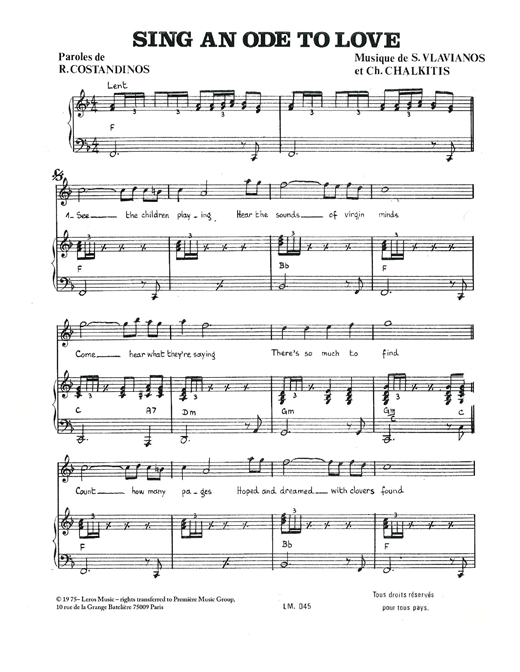 Download Stylianos Vlavianos 'Sing An Ode To Love' Digital Sheet Music Notes & Chords and start playing in minutes