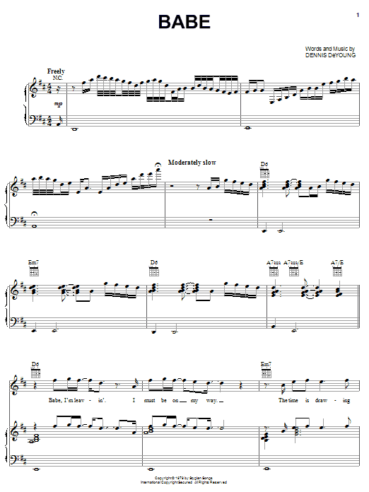Styx Babe sheet music preview music notes and score for Piano, Vocal & Guitar (Right-Hand Melody) including 6 page(s)