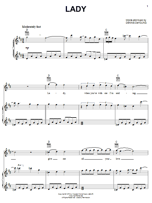 Styx Lady sheet music preview music notes and score for Piano, Vocal & Guitar (Right-Hand Melody) including 4 page(s)