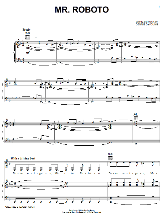 Styx Mr. Roboto sheet music preview music notes and score for Piano, Vocal & Guitar (Right-Hand Melody) including 9 page(s)