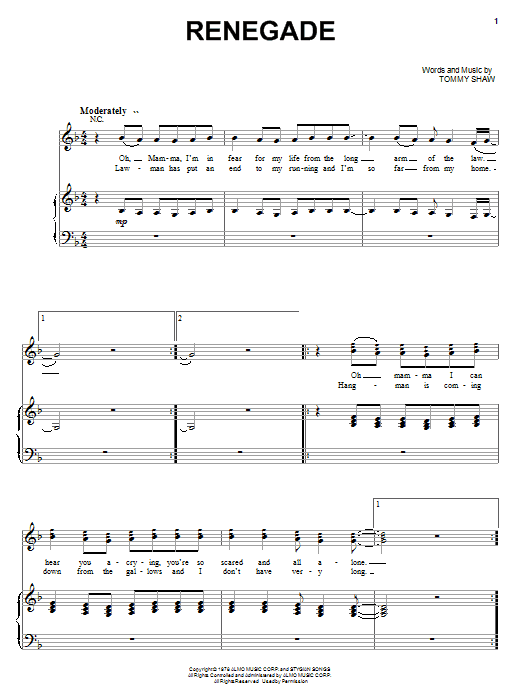 Styx Renegade sheet music preview music notes and score for Lyrics & Chords including 3 page(s)