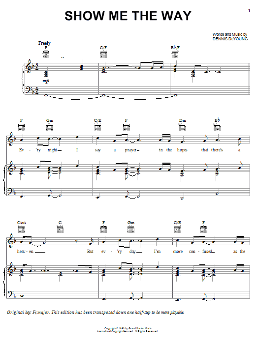 Styx Show Me The Way sheet music preview music notes and score for Piano, Vocal & Guitar (Right-Hand Melody) including 8 page(s)