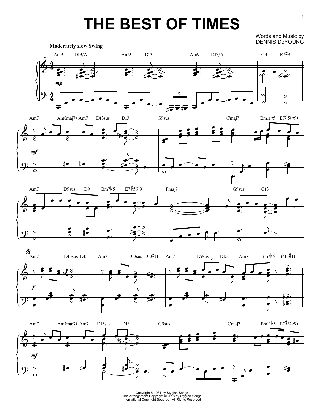 Download Styx 'The Best Of Times' Digital Sheet Music Notes & Chords and start playing in minutes