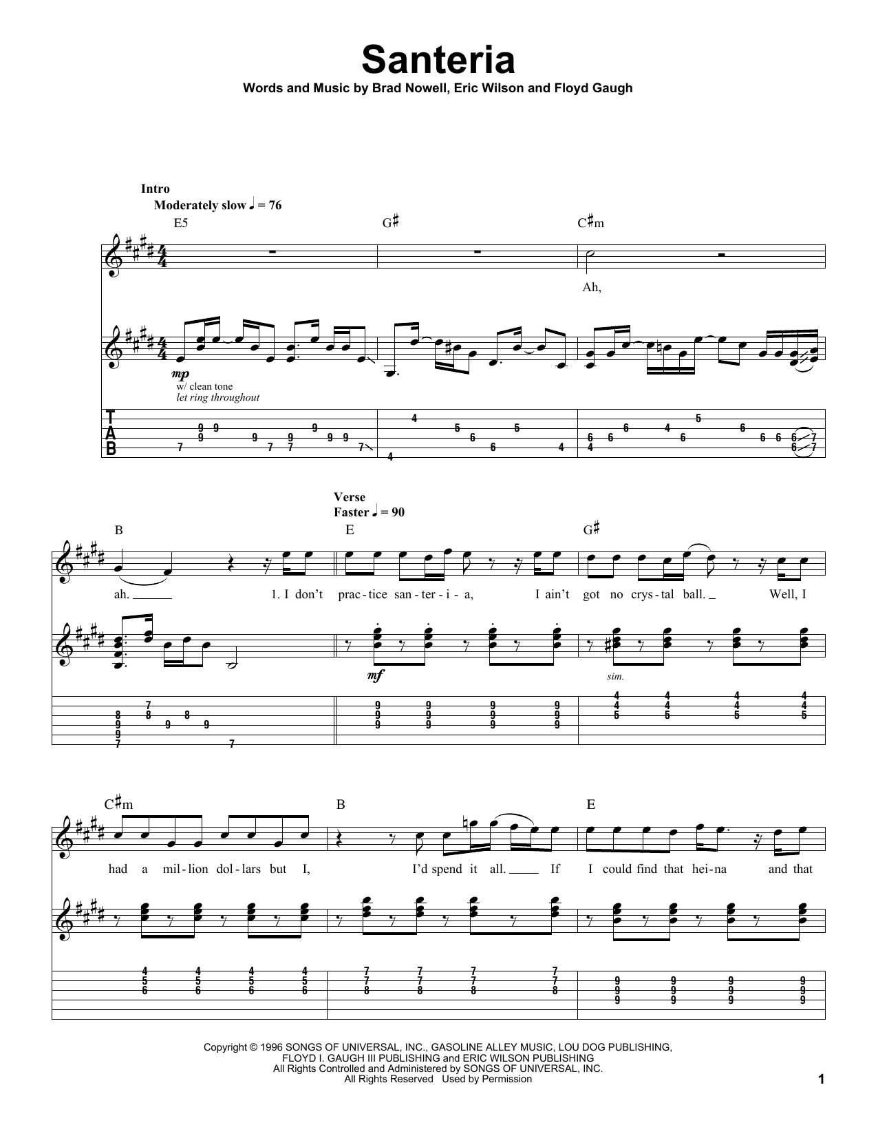 Download Sublime 'Santeria' Digital Sheet Music Notes & Chords and start playing in minutes