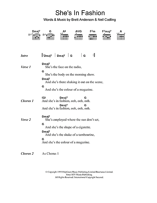 Suede She's In Fashion sheet music notes and chords