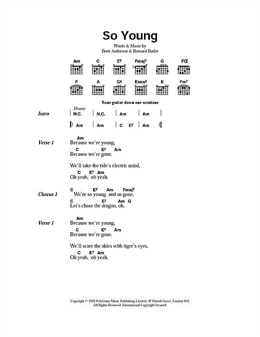 Suede So Young sheet music notes and chords