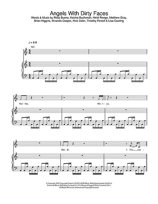 Sugababes Angels With Dirty Faces sheet music notes and chords