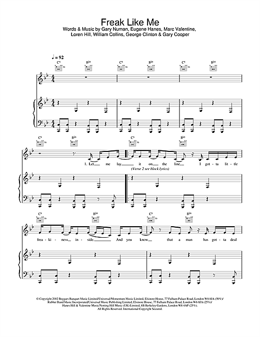 Sugababes Freak Like Me sheet music notes and chords