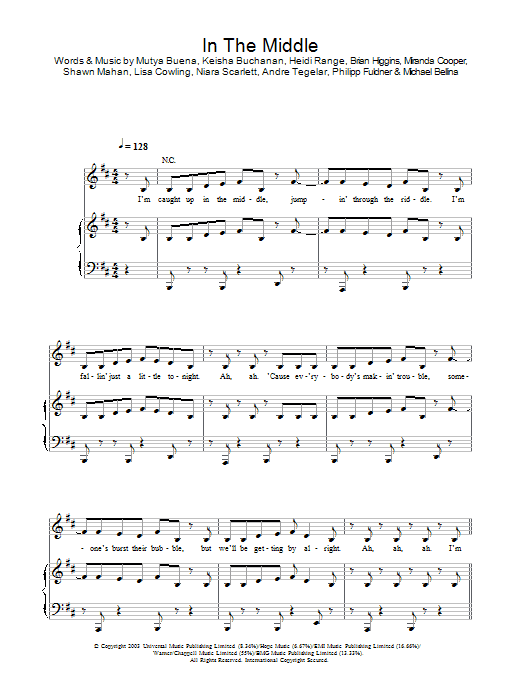 Sugababes In The Middle sheet music preview music notes and score for Piano, Vocal & Guitar (Right-Hand Melody) including 8 page(s)