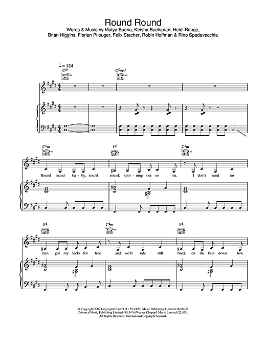 Sugababes Round Round sheet music notes and chords