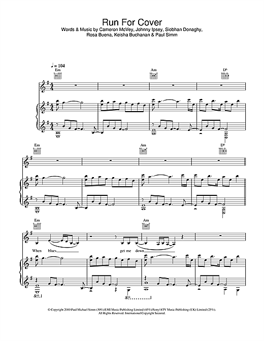Sugababes Run For Cover sheet music notes and chords