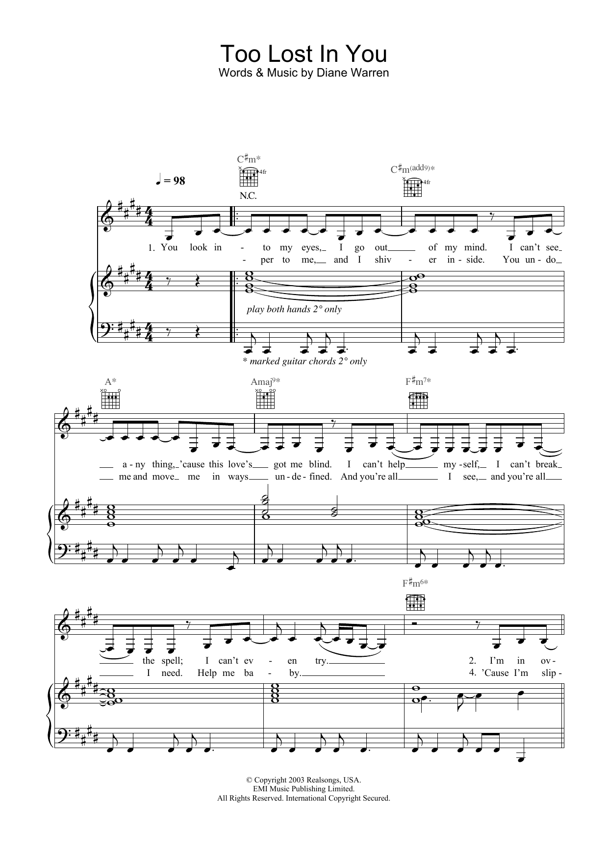 Sugababes Too Lost In You sheet music preview music notes and score for Piano, Vocal & Guitar including 6 page(s)