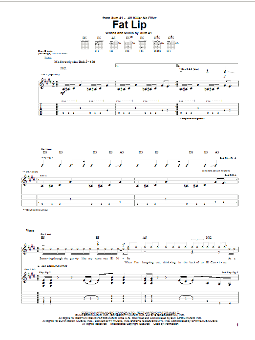 Sum 41 Fat Lip sheet music preview music notes and score for Guitar Tab including 7 page(s)