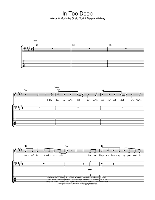 Sum 41 In Too Deep sheet music notes and chords