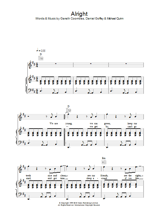 Supergrass Alright sheet music preview music notes and score for Piano, Vocal & Guitar including 5 page(s)