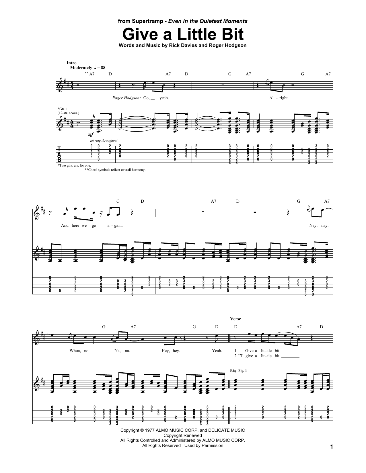 Supertramp Give A Little Bit sheet music preview music notes and score for Lyrics & Piano Chords including 2 page(s)
