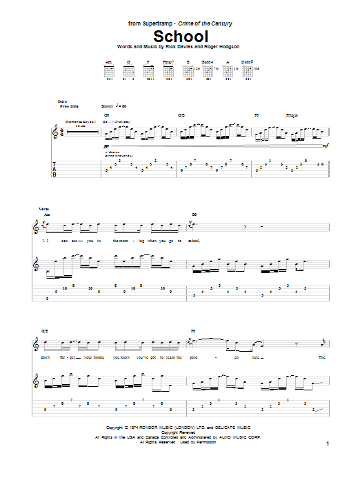 Supertramp School sheet music preview music notes and score for Guitar Tab including 13 page(s)