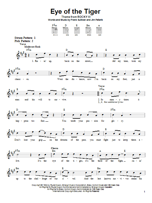 Survivor Eye Of The Tiger sheet music preview music notes and score for Drums Transcription including 1 page(s)