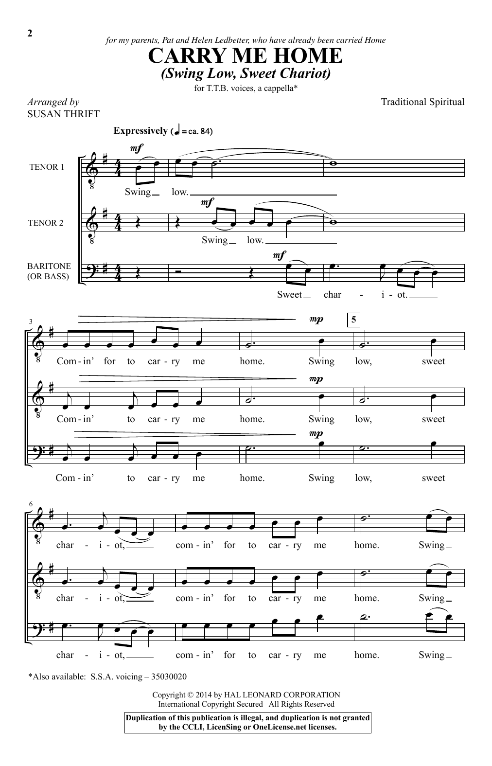 Download African-American Spiritual 'Carry Me Home (Swing Low, Sweet Chariot) (arr. Susan Thrift)' Digital Sheet Music Notes & Chords and start playing in minutes