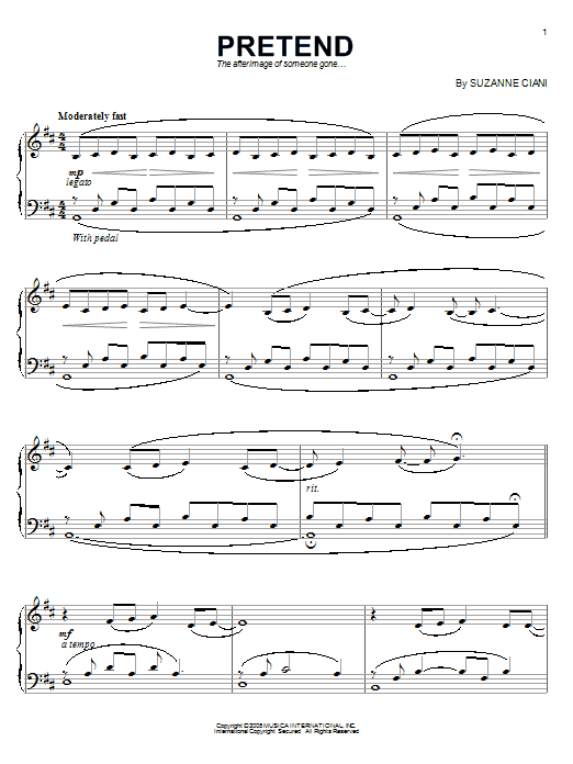 Suzanne Ciani Pretend sheet music preview music notes and score for Piano including 7 page(s)