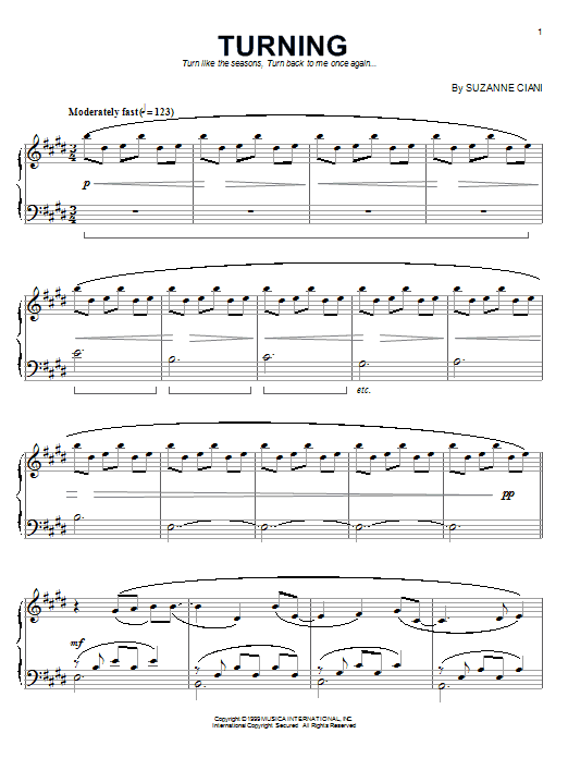 Suzanne Ciani Turning sheet music notes and chords