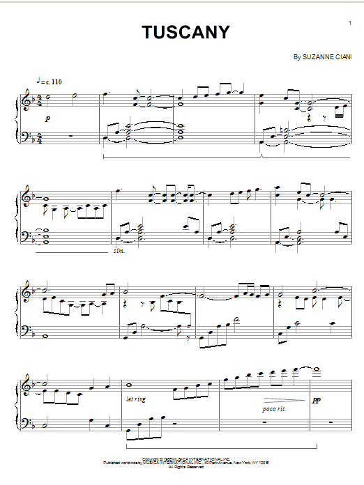 Download Suzanne Ciani 'Tuscany' Digital Sheet Music Notes & Chords and start playing in minutes