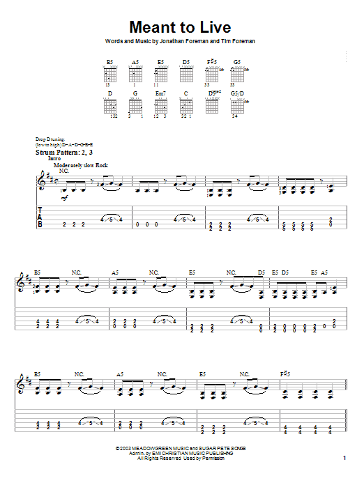 Switchfoot Meant To Live sheet music notes and chords