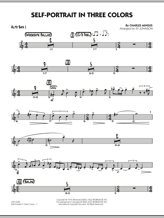 Sy Johnson Self-Portrait In Three Colors - Alto Sax 1 sheet music preview music notes and score for Jazz Ensemble including 2 page(s)