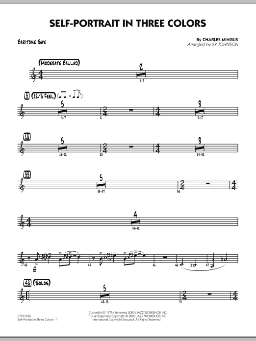 Sy Johnson Self-Portrait In Three Colors - Baritone Sax sheet music preview music notes and score for Jazz Ensemble including 2 page(s)