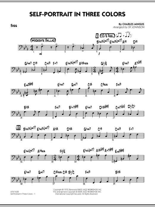 Sy Johnson Self-Portrait In Three Colors - Bass sheet music preview music notes and score for Jazz Ensemble including 3 page(s)