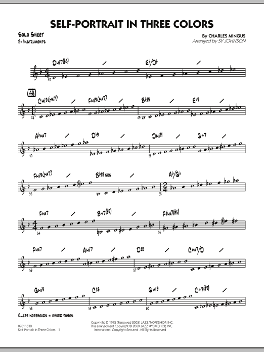 Sy Johnson Self-Portrait In Three Colors - Bb Solo Sheet sheet music preview music notes and score for Jazz Ensemble including 2 page(s)