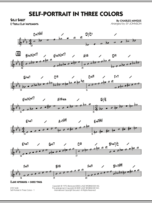 Sy Johnson Self-Portrait In Three Colors - C Solo Sheet sheet music preview music notes and score for Jazz Ensemble including 2 page(s)