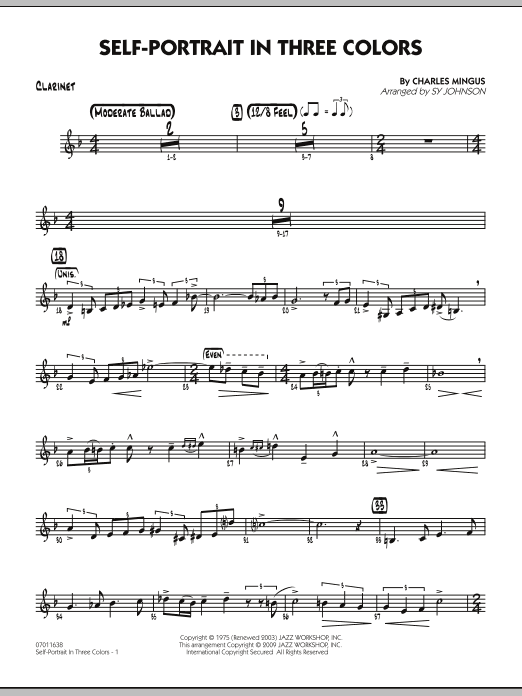 Sy Johnson Self-Portrait In Three Colors - Clarinet sheet music preview music notes and score for Jazz Ensemble including 2 page(s)