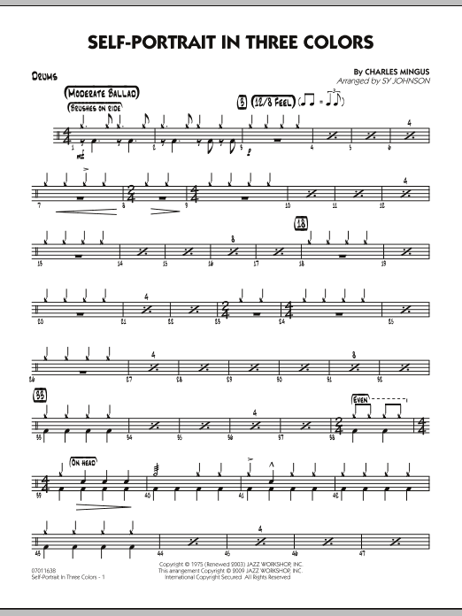 Sy Johnson Self-Portrait In Three Colors - Drums sheet music preview music notes and score for Jazz Ensemble including 2 page(s)