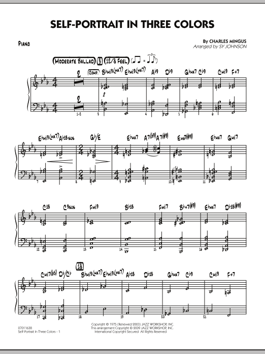Sy Johnson Self-Portrait In Three Colors - Piano sheet music preview music notes and score for Jazz Ensemble including 4 page(s)