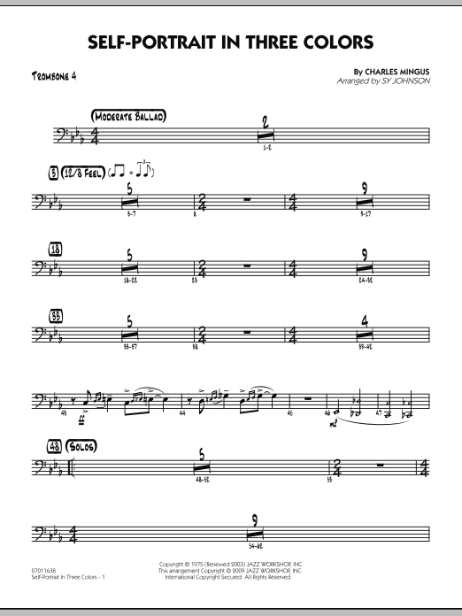 Sy Johnson Self-Portrait In Three Colors - Trombone 4 sheet music preview music notes and score for Jazz Ensemble including 2 page(s)