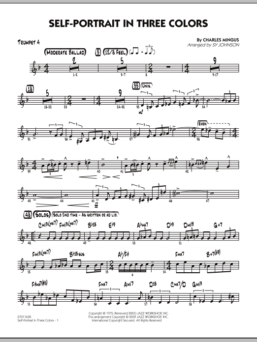 Sy Johnson Self-Portrait In Three Colors - Trumpet 4 sheet music preview music notes and score for Jazz Ensemble including 2 page(s)