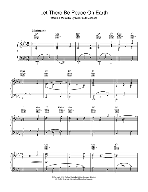 Sy Miller Let There Be Peace On Earth sheet music notes and chords