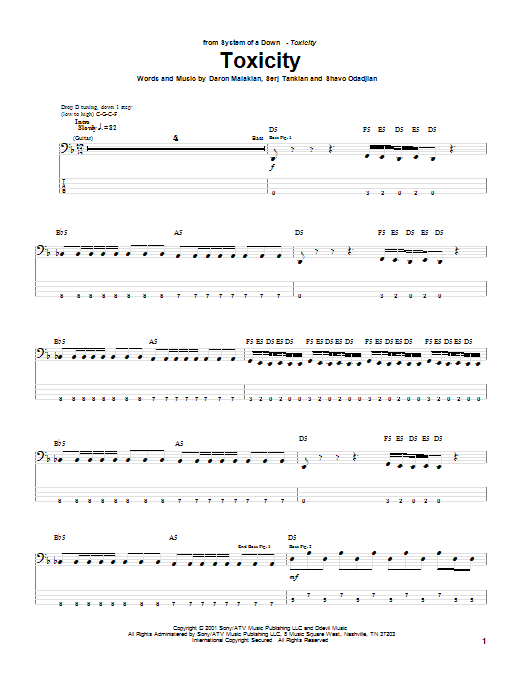 System Of A Down Toxicity sheet music preview music notes and score for Bass Guitar Tab including 6 page(s)