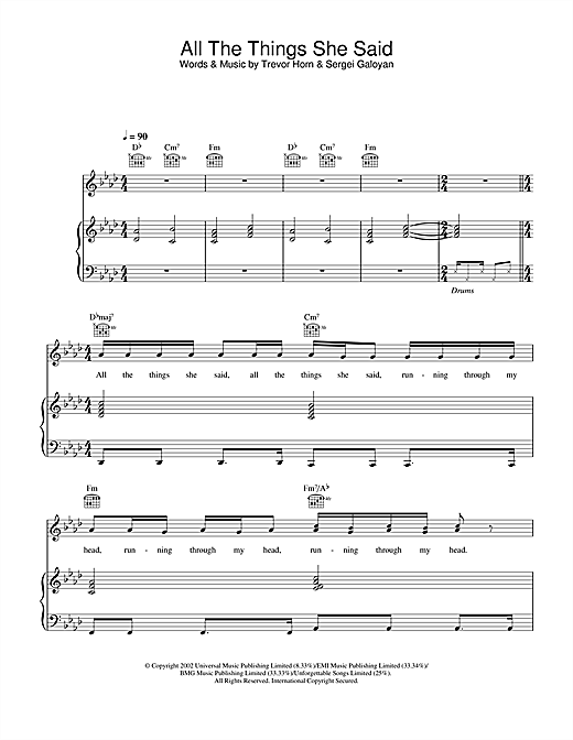 t.A.T.u. All The Things She Said sheet music notes and chords