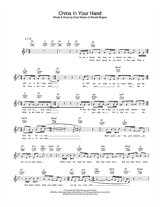 T'Pau China In Your Hand sheet music preview music notes and score for Melody Line, Lyrics & Chords including 2 page(s)