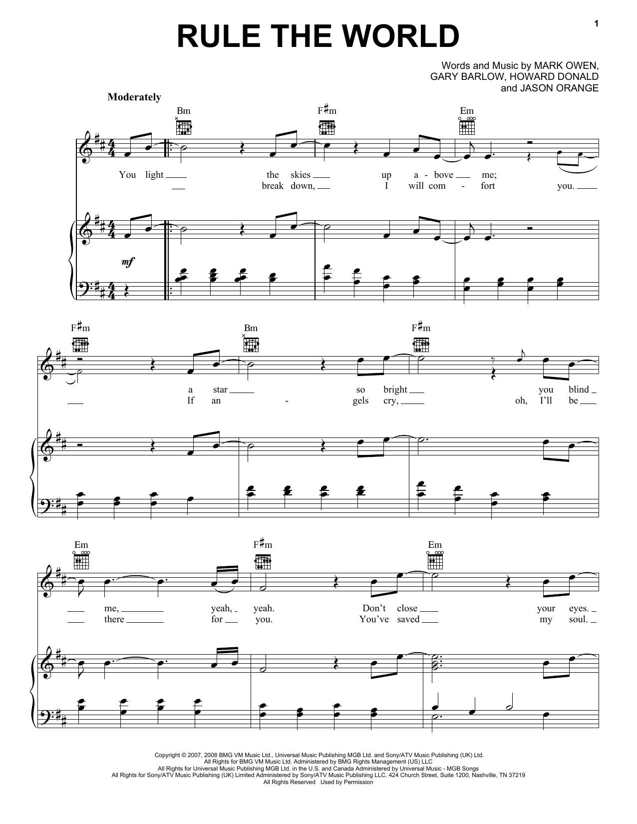 Take That Rule The World (from Stardust) sheet music notes and chords