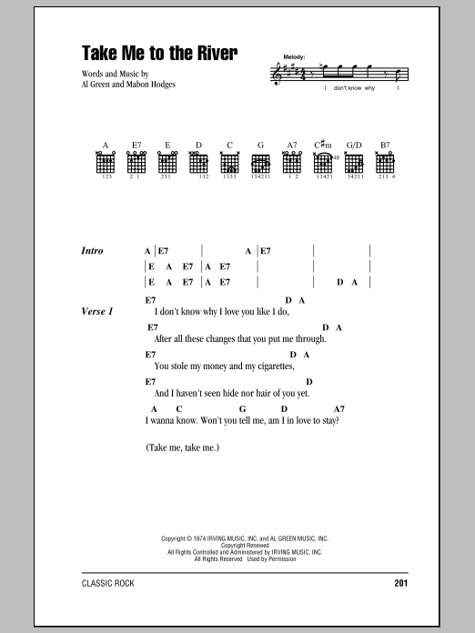 Talking Heads Take Me To The River sheet music preview music notes and score for Lyrics & Chords including 3 page(s)