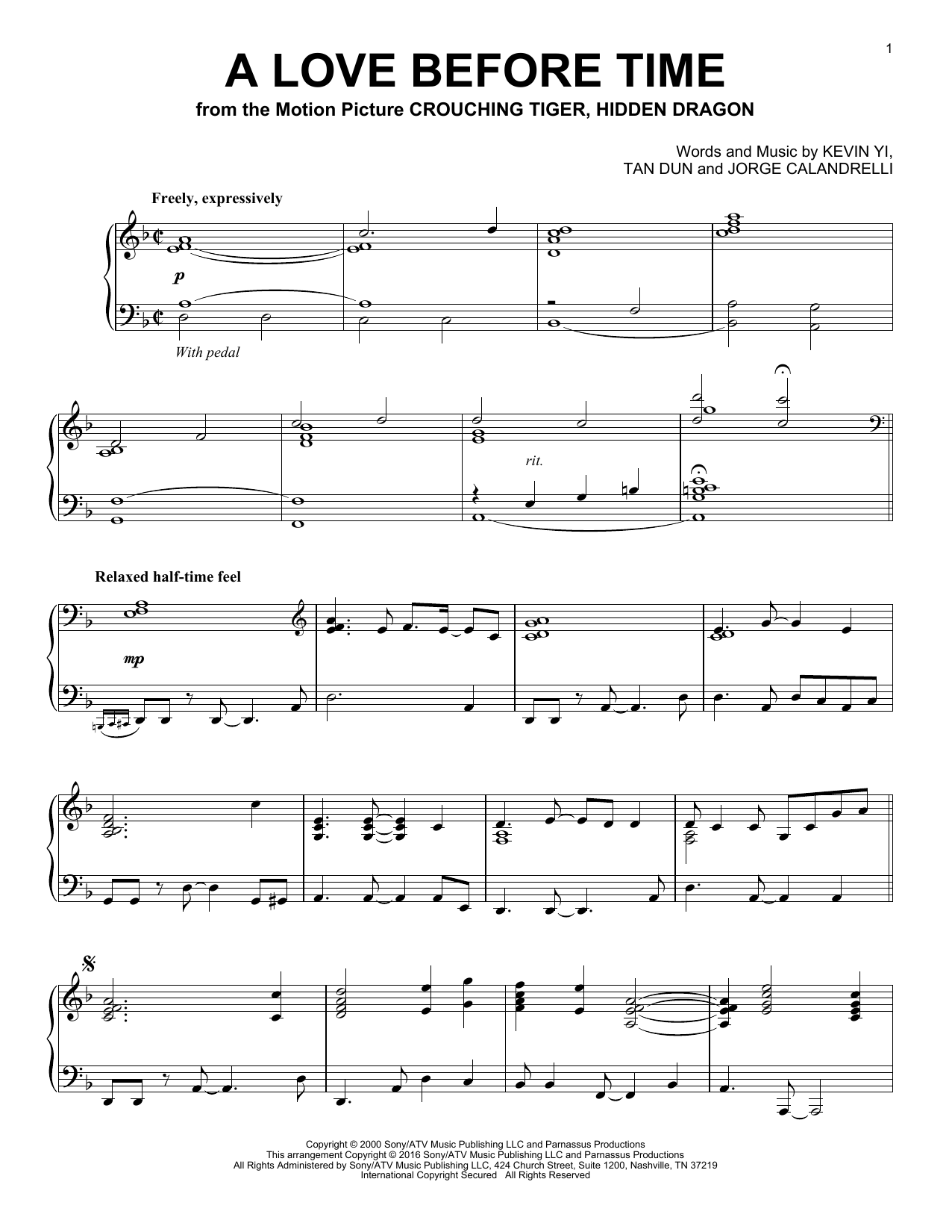 Download Tan Dun 'A Love Before Time' Digital Sheet Music Notes & Chords and start playing in minutes