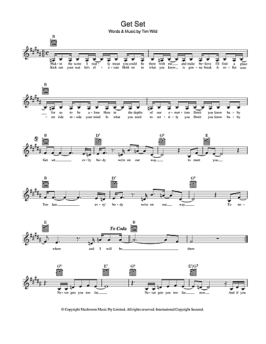 Taxiride Get Set sheet music preview music notes and score for Melody Line, Lyrics & Chords including 2 page(s)