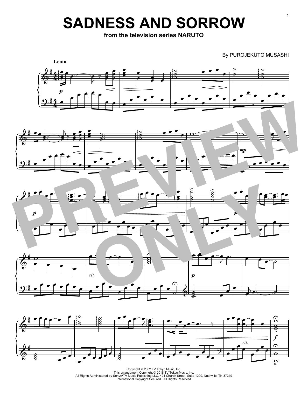 Download Purojekuto Musashi 'Sadness And Sorrow' Digital Sheet Music Notes & Chords and start playing in minutes