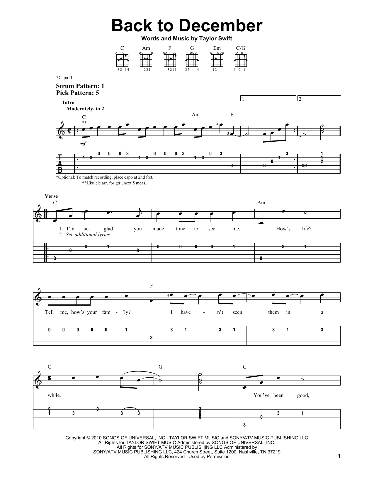 Taylor Swift Back To December sheet music preview music notes and score for Piano including 5 page(s)