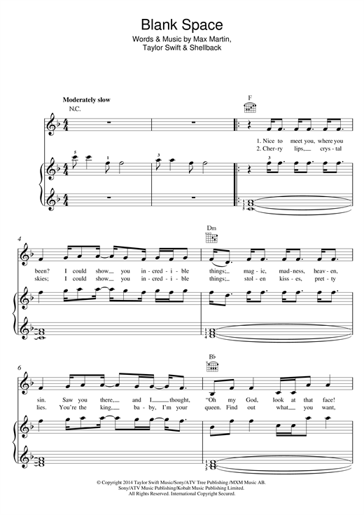 Download Taylor Swift 'Blank Space' Digital Sheet Music Notes & Chords and start playing in minutes