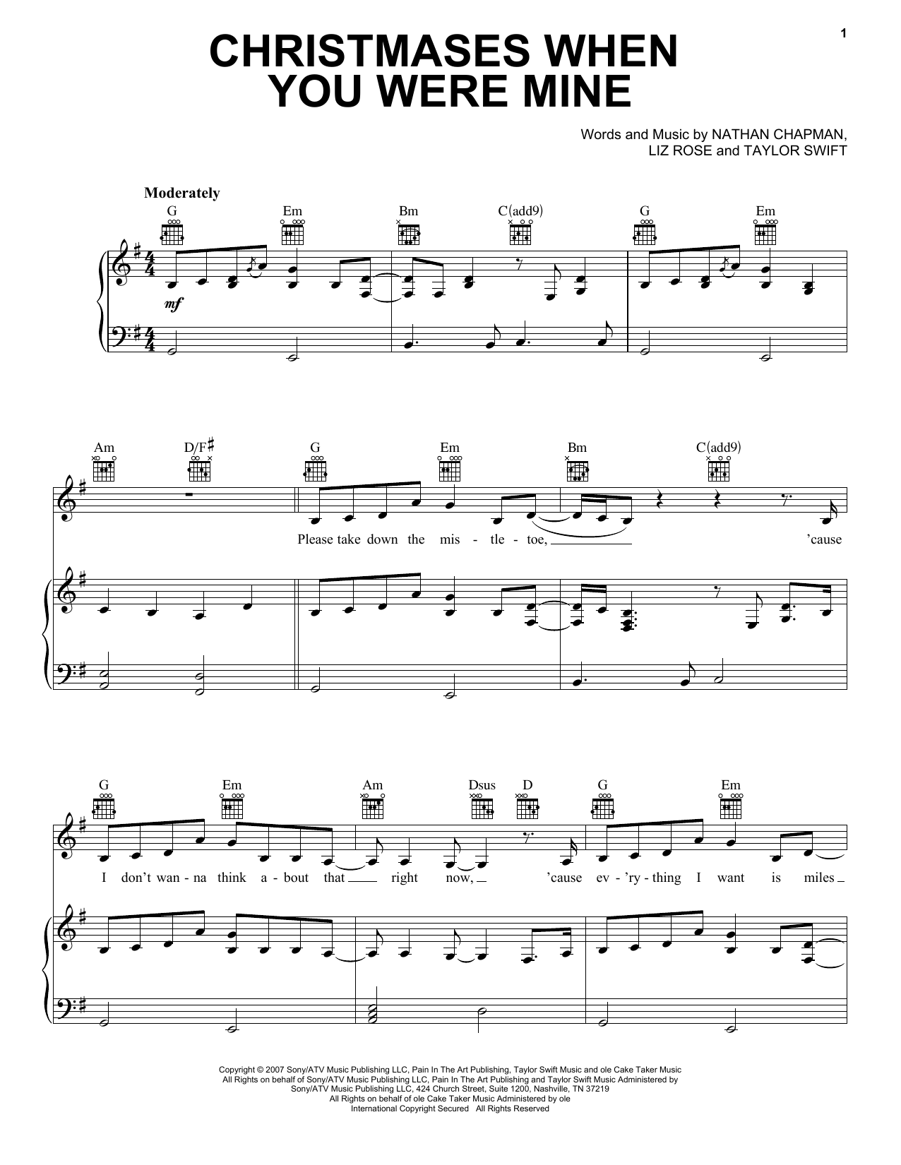 Taylor Swift Christmases When You Were Mine sheet music preview music notes and score for E-Z Play Today including 4 page(s)